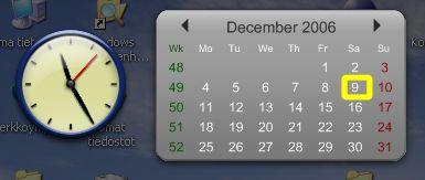 Esimerkki vimpaimista: Kello ja kalenteri